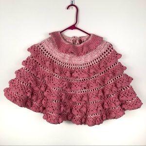 Homemade Girl's Ruffled Flowy Crochet Knit Poncho